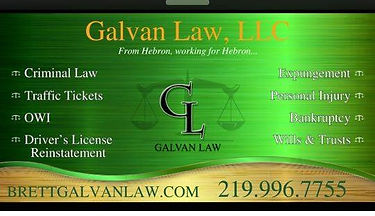 Attorney Brett Galvan, Galvan Law, LLC Hebon Indiana 219 996 7755