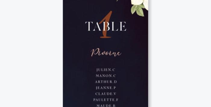Plan de table - Botanique Chic
