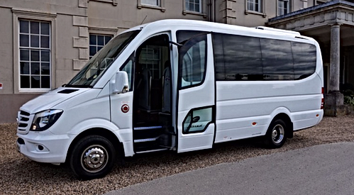 Wedding Cars Torbay White Mercedes 16 Seat Minicoach Wedding Gest Transportin Torbay and South Devon