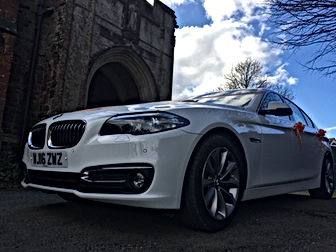 Wedding Cars Torbay White 5 Series BMW for wedding car hire in Torbay and South Devon