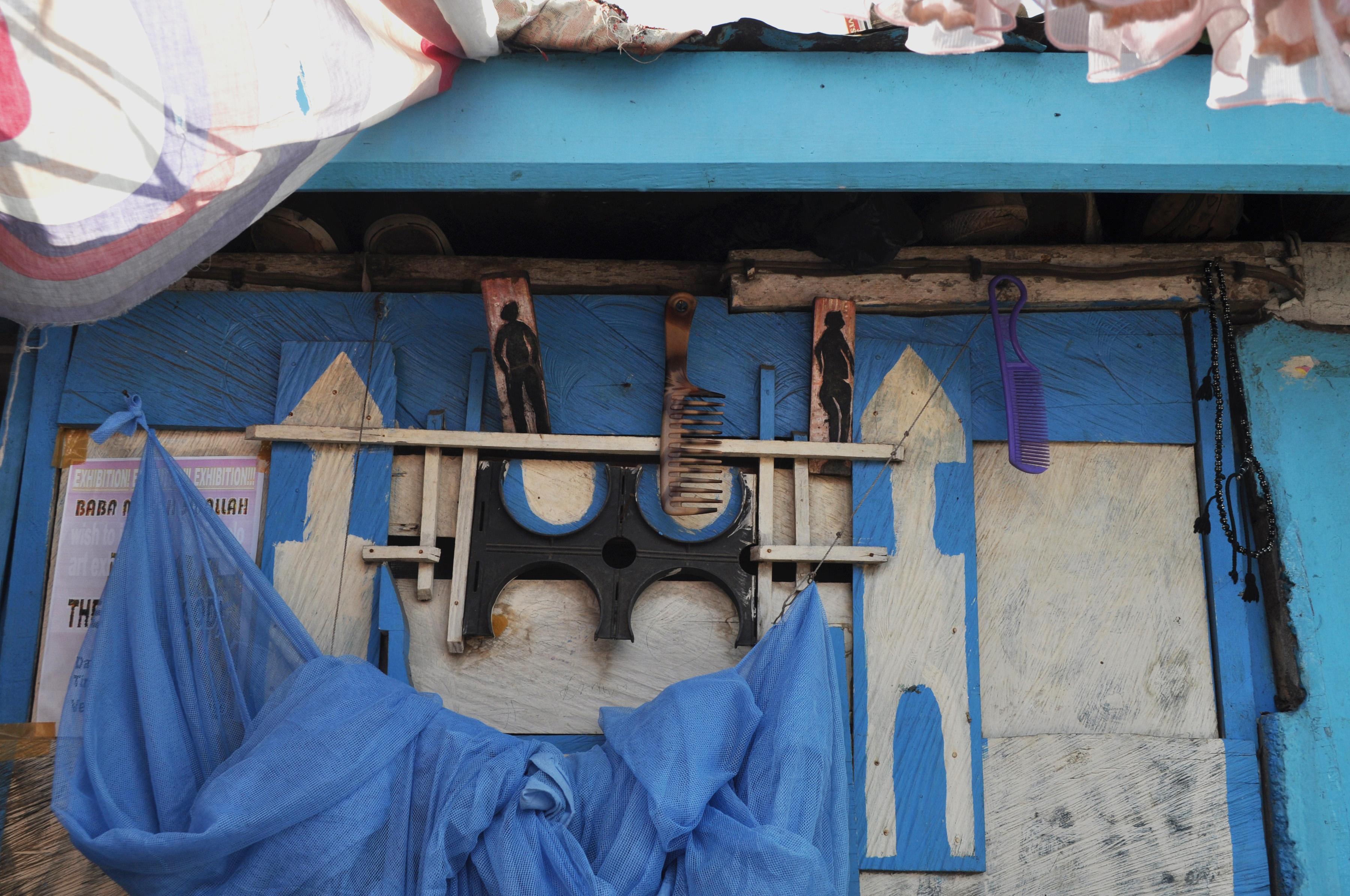 Curtain, combs & prayer beads