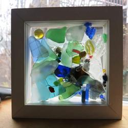 beach glass shadowbox
