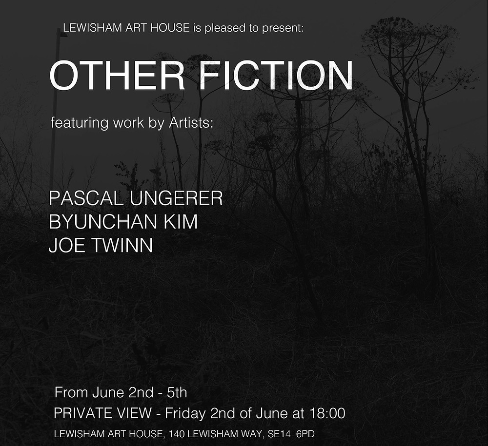 I will be taking part in this show with Byungchan Kim and Joe Twinn at Lewisham Art House which will be opening this Friday the 2nd of June at 18:00.
