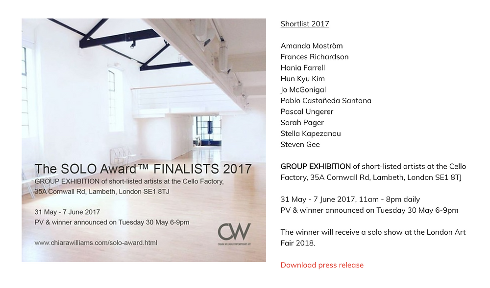 I am happy to say that I have been shortlisted for the Solo Award which will be taking place at the Cello Factory and Opening on the 31st of May.