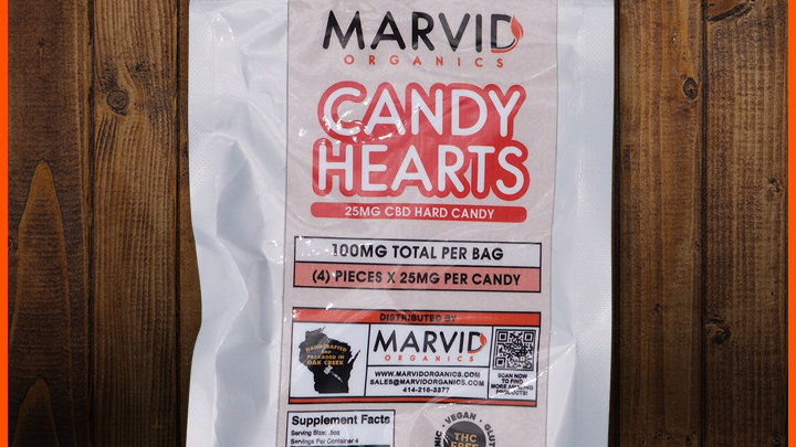 Marvid Organics 750 mg Hard Candy Hearts