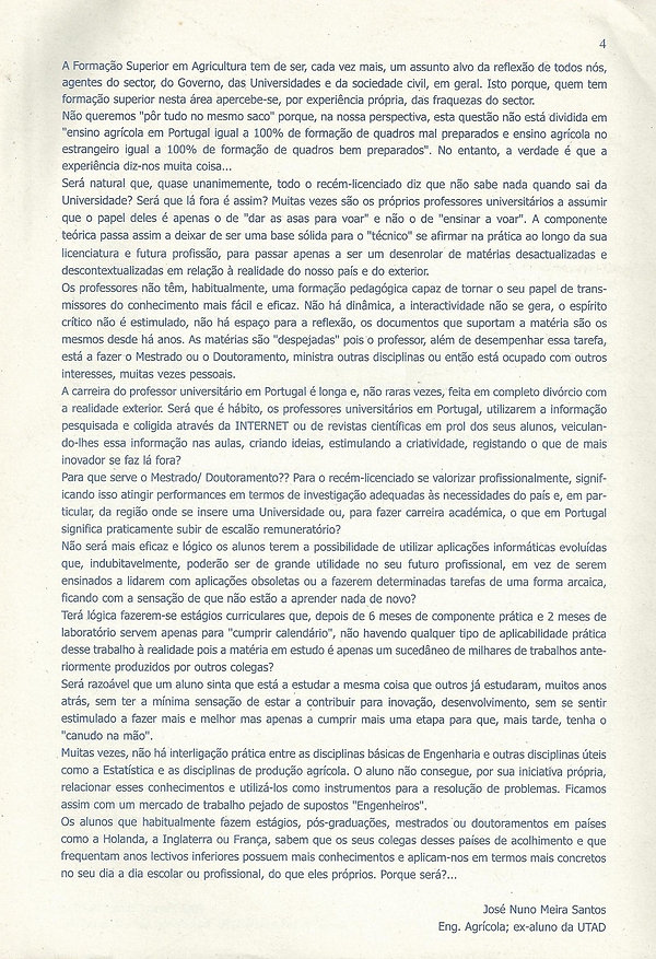 Article of opinion written for CAN's Norte Rural journal on the state of the Agricultural University education in Portugal