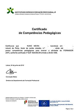 Certificat Trainer Nuno Meira