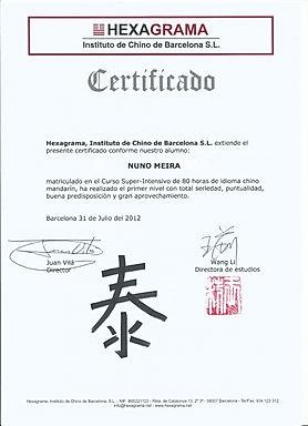 Certificate_ Hexagrama Chinese-Mandarin