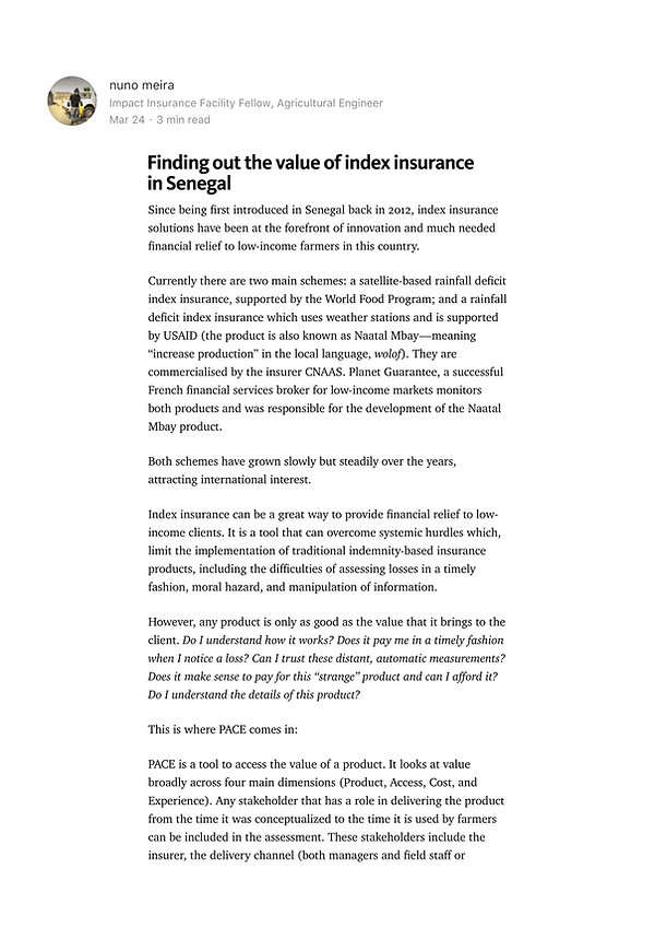 Index insurance in Senegal