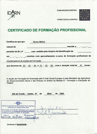 Certificate_IDARN_Certified Trainer Portuguese_Ministry_of Agriculture Nuno Meira
