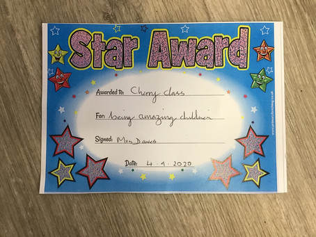 Star Award from Mrs. Dawes...