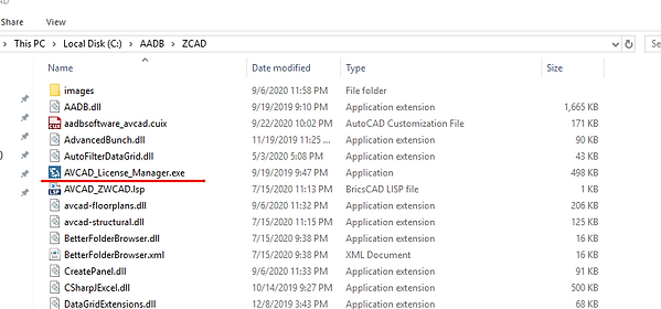 AVCAD license manager.png