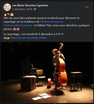 Post facebook, les Bains Douches, le 2 décembre 2020