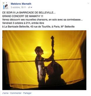 Concert à La Barricade de Belleville, 3 octobre 2014