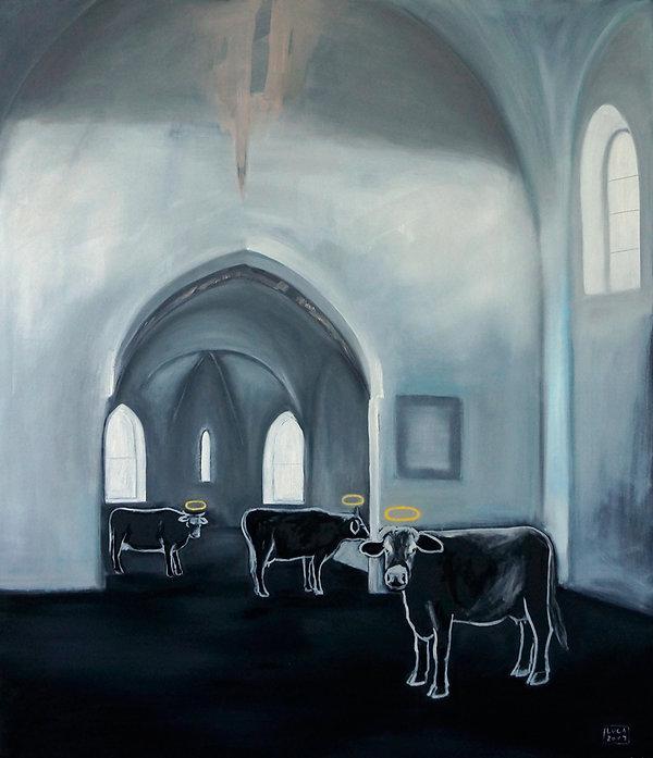 Ioana Luca, Tiermaler, Gott, geheiligte Haus, heilige Kühe, Tiere, Tierporträts, Kirche, Interieur, Raum, Kirchenraum