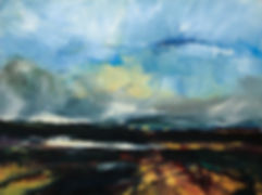 Landschaften, nach dem Regen, Öl auf Leinwand, Detlev Foth, Landschaftsmaler, Düsseldorf, Künstler in Düsseldorf, Art Düsseldorf, Zeitgenössische Kunst, Ölmalerei