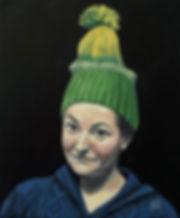 Porträt in Öl, Porträtmaler in Düsseldrf, Selbst mit Pudelmütze, Öl auf Leinwand, Selbstporträt