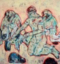Detlev Foth, kleine Gruppe, drei Figuren, Ölbild, Gemälde, figurative Malerei