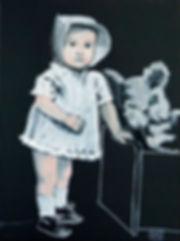 Ioana Luca, Malerei, Künstler, Düsseldorf, Kind mit Plüschtier, Mädchen mit Plüschtier, Mädchen in weißem Kleid, Gemälde, Ölbild