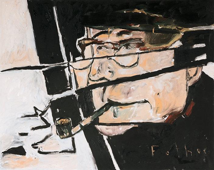 Georges Simenon Portrait, Ölbild, Gemälde, Porträtmaler in Düsseldorf, Detlev Foth, Schriftstellerporträts, Malerei