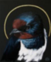 Ioana Luca, Tierporträts, Vogelporträts, Rauchschwalbe, die heilige Rauchschwalbe, Öl und Blattgold auf Leinwand, heilige Tiere, Tiermaler in Düsseldorf, Köln