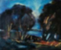 Landschaften, Öl auf Leinwand, Detlev Foth, Landschaftsmaler, Düsseldorf, Künstler in Düsseldorf, Art Düsseldorf, Zeitgenössische Kunst, Ölmalerei, Rhein, Mönchenwerth, Bäume