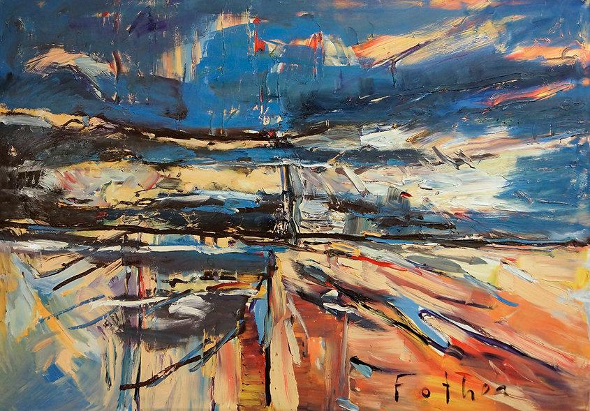 Landschaften, Öl auf Leinwand, Detlev Foth, Landschaftsmaler, Düsseldorf, Künstler in Düsseldorf, Art Düsseldorf, Zeitgenössische Kunst, Ölmalerei, Strandlandschaft, Strand, Ufer