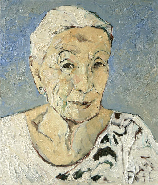 Porträt, ältere Dame, Detlev Foth, Poträtauftrag Düsseldorf