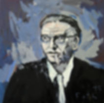 Portätmalerei, Ölbild, Jean Paul Sartre, Porträt, Schriftsteller, Detlev Foth, Maler, Düsseldorf