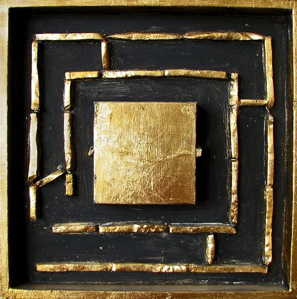 ioana luca, labyrinth, öl, schlagmetall, holz