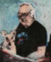 Detlev Foth, Porträtmalerei, Porträtmaler, Selbstporträt mit Hund, Öl auf Leinwand, Künstler in Düsseldorf