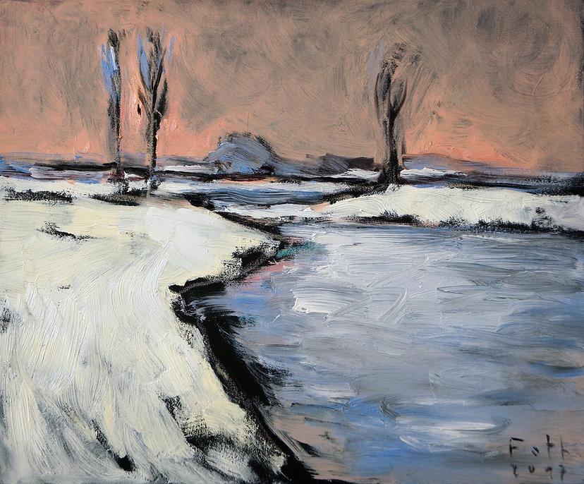 Detlev Foth, Landschaften, Schneelandschaft, Winterlandschaft, Wasser, Bäume, Januar, Öl auf Leinwand