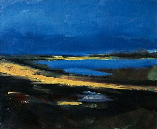 Landschaften, Öl auf Leinwand, Detlev Foth, Landschaftsmaler, Düsseldorf, Künstler in Düsseldorf, Art Düsseldorf, Zeitgenössische Kunst, Ölmalerei, See, Nacht