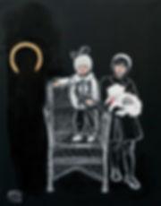 Ioana Luca, Gemälde, Bilder, Geschwister mit Hund, Familie, Kinderporträts, rumänische Künstler in Deutschland, osteuropäische Künstler, Maler, Düsseldorf