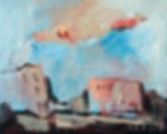 Kleine Häuseransicht, Detlev Foth, Ölmalerei, Künstler in Düsseldorf, Häuser