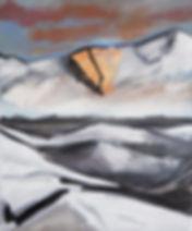 Ioana Luca, Goldgletscher, Berge, Schnee, Landschaft, Ölbild, Ölgemälde, Kleinformat, Gold, Öl auf Leinwand