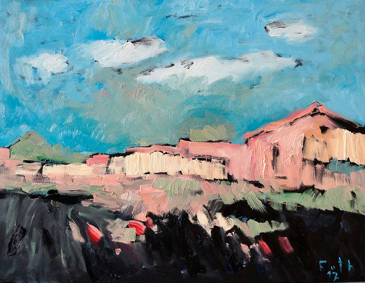 Detlev Foth, Malerei, Architekturbild, Häuser, Dorf, Spanien