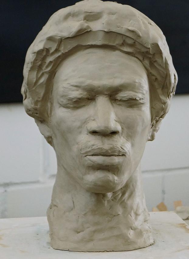 Porträtstudie Jimi Hendrix, Tonmodell - Ioana Luca, Bildhauerin