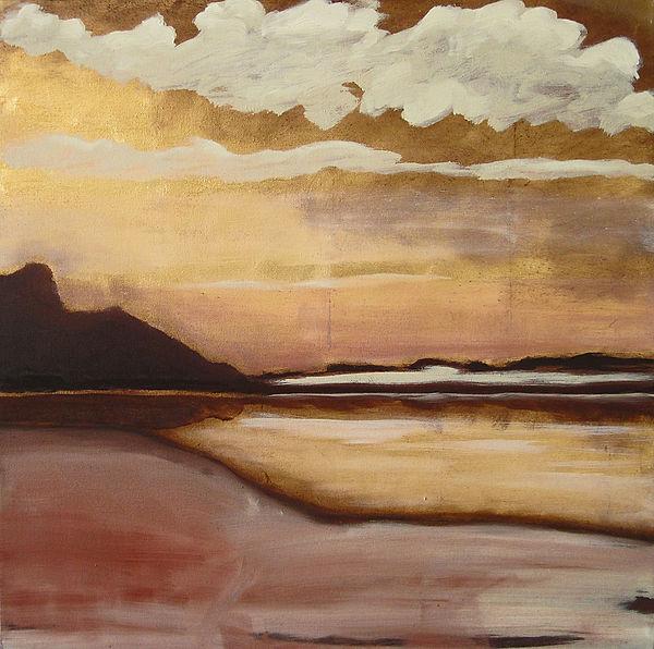 Landschaft, Ölbild, Gold, Ioana Luca