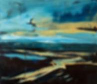 Landschaften, Öl auf Leinwand, Detlev Foth, Landschaftsmaler, Düsseldorf, Künstler in Düsseldorf, Art Düsseldorf, Zeitgenössische Kunst, Ölmalerei, Straße am See, Seelandschaft