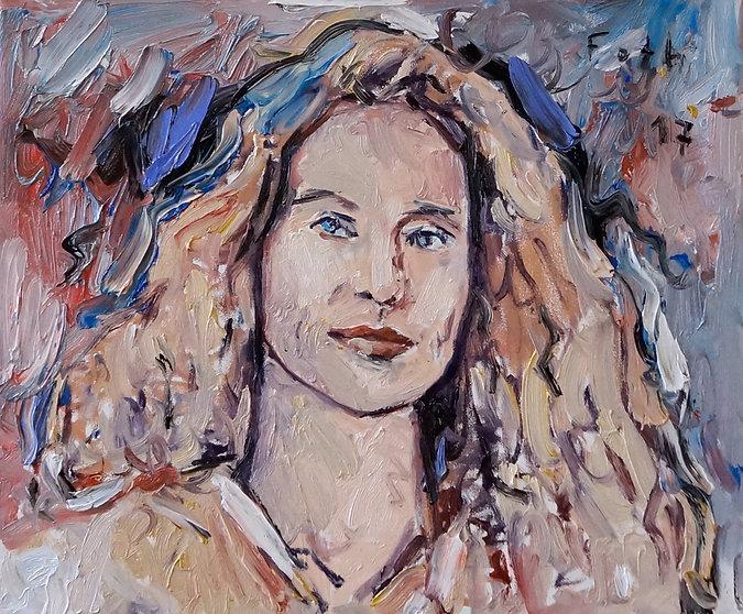 Detlev Foth, Porträtmalerei, Porträtmaler in Düsseldorf, Sandra Richter, Porträt, Öl auf Leinwand, Ölpastell, german artist, Künstler in Düsseldorf