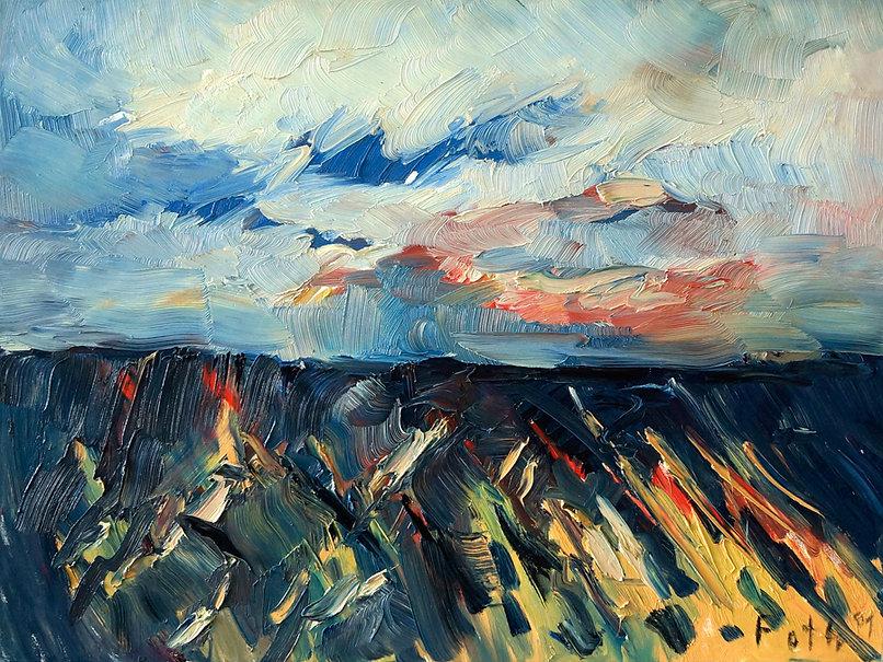 Landschaften, Öl auf Leinwand, Detlev Foth, Landschaftsmaler, Düsseldorf, Künstler in Düsseldorf, Art Düsseldorf, Zeitgenössische Kunst, Ölmalerei, Sommerfeld