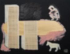 Ioana Luca, Malerei, Kind, Hund, Glitzerpapier, Papyrus, Ölmalerei, Collage, Kunst in Düsseldorf, Rumänische Künstler, Romanian Art