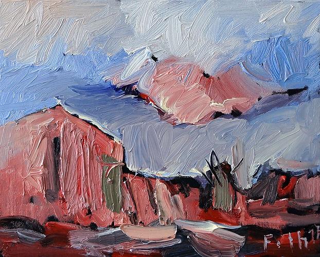 Landschaft Ankelohe, Norddeutschland, Ölbild, Gemälde, Haus, Malerei, Detlev Foth