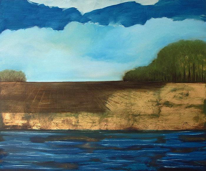Landschaft, Gold, Ölbild, Ioana Luca