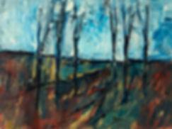 Landschaften, Öl auf Leinwand, Detlev Foth, Landschaftsmaler, Düsseldorf, Künstler in Düsseldorf, Art Düsseldorf, Zeitgenössische Kunst, Ölmalerei, März, Licht, Bäume