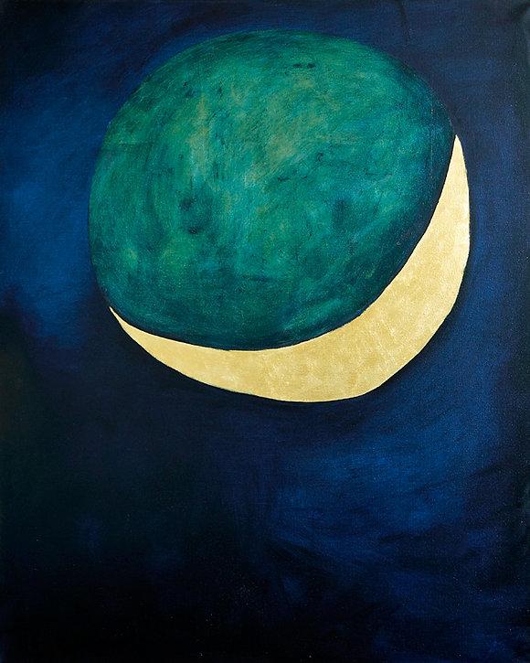 Ölbild, Gold, Mond, Ioana Luca
