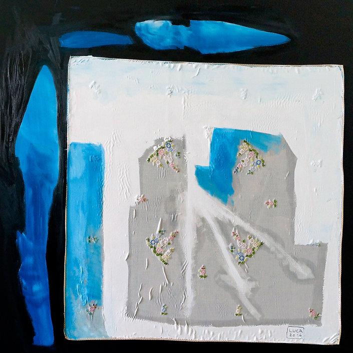 Ioana Luca, Textil, Öl, Leinwand, Textilcollage, Hedwig, Kunst, Düsseldorf