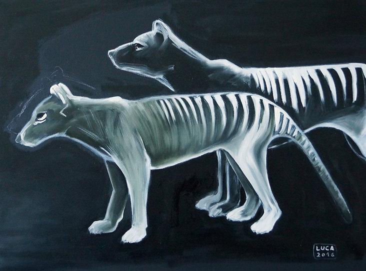 Ioana Luca, Malerei, Künstler in Düsseldorf, Thylacinus cynocephalus, Tasmansicher Tiger, Gemälde, Ölbild, Öl auf Leinwand