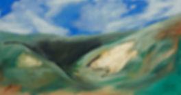 Landschaft, Ioana Luca, grüne hügel, gold, ölbild, ölgemälde, großformatiges bild, kunst in düsseldorf, Rumänien